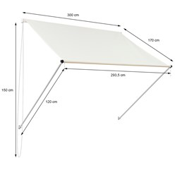ML-Design Markise beige, 300x120 cm, aus Metall und Polyester