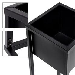 ML-Design 2er Set Blumenständer, schwarz, 21x50/70x21 cm, pulverbeschichtetes Metall