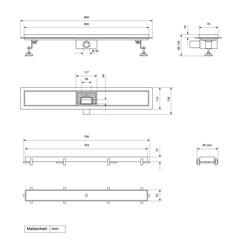 ML-Design Duschrinne befliesbar, 80cm, silber, aus Edelstahl