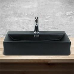 ML-Design Waschbecken Schwarz matt, 600x365x130 mm, rechteckig, aus Keramik