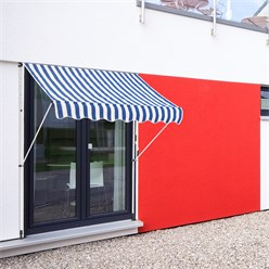 ML-Design Klemmarkise blau/weiß, 200x120 cm, aus Metall und Polyester
