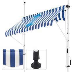 ML-Design Klemmmarkise blau/weiß, 150x120 cm, mit LED Solar Lichterkette 7m
