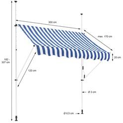 ML-Design Klemmarkise blau/weiß, 300x120 cm, aus Metall und Polyester