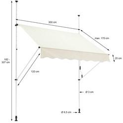 ML-Design Klemmarkise beige, 300x120 cm, aus Metall und Polyester