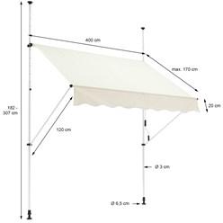 ML-Design Klemmarkise beige, 400x120 cm, aus Metall und Polyester
