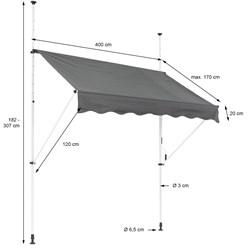 ML-Design Klemmarkise grau, 400x120 cm, aus Metall und Polyester