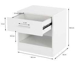 ML-Design Nachttisch weiß, 36x29x38 cm, mit einer Schublade und offenem Fach, aus Holz