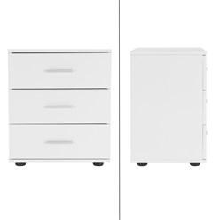 ML-Design Nachttisch weiß, 45x34x50 cm, mit 3 Schubladen, aus Steinplatte