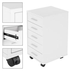 ML-Design Rollcontainer weiß, mit 5 Schubladen, 33x38x63.5 cm, aus Spannplatte mit Melaminbeschichtung