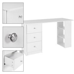 ML-Design Schreibtisch weiß, 120x49x72 cm, mit 3 Schubladen und 3 Aufbewahrungsregale, aus Spanplatte