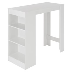Bartisch mit 3 Ablagefläche 110x50x103 cm weiß aus Spanplatte ML-Design