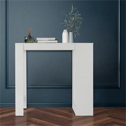 ML-Design Bartisch weiß, 110x50x103 cm, mit 3 Ablagefläche, aus Spanplatte