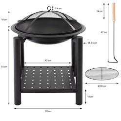 ML-Design Feuerschale schwarz, Ø 55 cm, aus Stahl