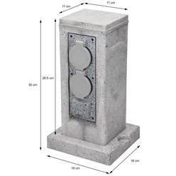 ML-Design 4-fach Gartensteckdosen, IP44, mit Erdspieß aus Polyresin