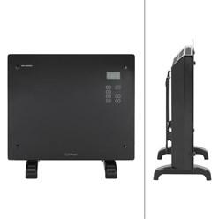 ML-Design Glaskonvektor 1000W, schwarz, mit LCD-Display und Wandhalterung