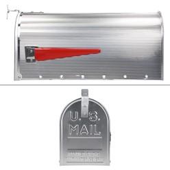 ML-Design US Mailbox mit aufrichtbarer Fahne in rot, silber, aus Aluminium