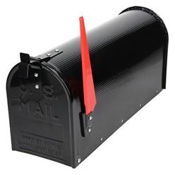 ML-Design US Mailbox mit aufrichtbarer Fahne in rot, schwarz, aus Aluminium