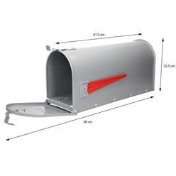 ML-Design US Mailbox mit aufrichtbarer Fahne in rot, grau, aus Aluminium