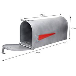 ML-Design US Mailbox mit aufrichtbarer Fahne in rot, beton-optik, aus Aluminium