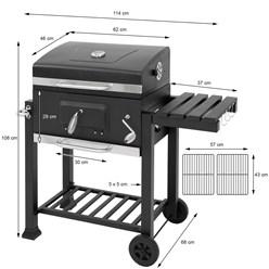 ML-Design Holzkohlegrill mit Deckel und Seitenblage, 106x114x68 cm, aus Rostfreier Stahl und Kunststoff