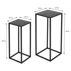 ML-Design 2er Set Blumenständer, schwarz, aus pulverbeschichtet Metall