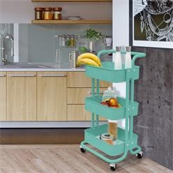 Küchenwagen mit 3 Ebenen türkis, 43x35.5x84 cm, aus verzinkt und lackiert Stahl