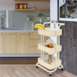 Küchenwagen mit 3 Ebenen beige, 43x35.5x84 cm, aus verzinkt und lackiert Stahl