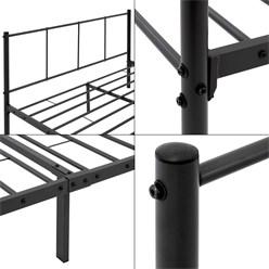 ML-Design Metallbett schwarz, 160x200 cm, auf Stahlrahmen mit Kopfteil und Lattenrost