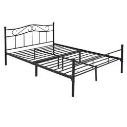 ML-Design Metallbett schwarz, 140x200 cm, auf Stahlrahmen mit Kopfteil und Fußteil
