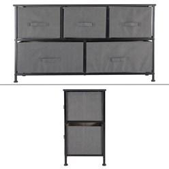 ML-Design Kommode aus Stoff mit 5 Schubladen, grau, 100x30x54.5 cm, aus Stahlrahmen mit laminierte MDF-Deckplatte