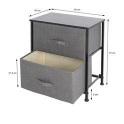 ML-Design Kommode aus Stoff mit 2 Schubladen, grau, 45x30x51 cm, aus Stahlrahmen mit laminierte MDF-Deckplatte