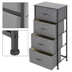 ML-Design Kommode aus Stoff mit 4 Schubladen, grau, 45x30x94 cm, aus Stahlrahmen mit laminierte MDF-Deckplatte