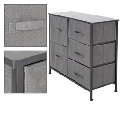 ML-Design Kommode aus Stoff mit 5 Schubladen, schwarz, 80x30x70 cm, aus Stahlrahmen mit laminierte MDF-Deckplatte