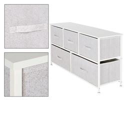 ML-Design Kommode aus Stoff mit 5 Schubladen, weiß, 100x30x54,5 cm, aus Stahlrahmen mit laminierte MDF-Deckplatte