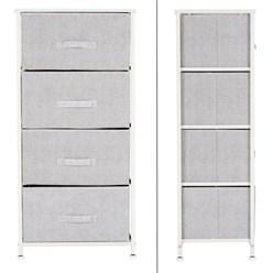 ML-Design Kommode aus Stoff mit 4 Schubladen, weiß, 45x30x94 cm, aus Stahlrahmen mit laminierte MDF-Deckplatte