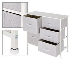 ML-Design Kommode aus Stoff mit 5 Schubladen, weiß, 80x30x70 cm, aus Stahlrahmen mit laminierte MDF-Deckplatte