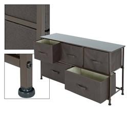 ML-Design Kommode aus Stoff mit 5 Schubladen grau, 100x30x54.5 cm, aus Stahlrahmen mit laminierte MDF-Deckplatte