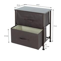 ML-Design Kommode aus Stoff mit 2 Schubladen, braun, 45x30x51 cm, aus Stahlrahmen mit laminierte MDF-Deckplatte
