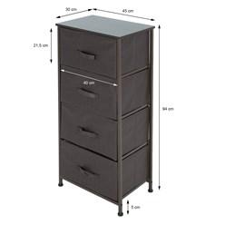 ML-Design Kommode aus Stoff mit 4 Schubladen, grau/braun, 45x30x94 cm, aus Stahlrahmen mit laminierte MDF-Deckplatte