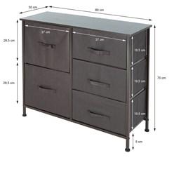 ML-Design Kommode aus Stof mit 5 Schubladen, grau/braun, 80x30x70 cm, aus Stahlrahmen mit MDF-Deckplatte