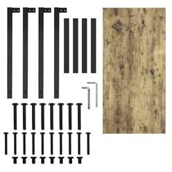 ML-Design Schreibtisch natur-schwarz, 120x60x75 cm, aus MDF und Metall pulverbeschichtet