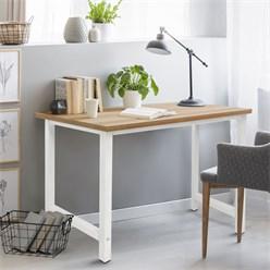 ML-Design Schreibtisch weiß, 120x60x75 cm, aus MDF mit Metallgestell