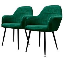 ML-Design 2er Set Esszimmerstuhl, Dunkelgrün, mit Rücken- und Armlehnen