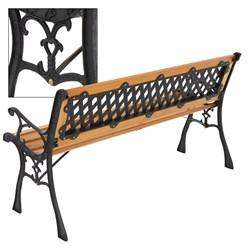 ML-Design Gartenbank 3-Sitzer, 126x74x50 cm, braun, aus Holz und Gusseisen