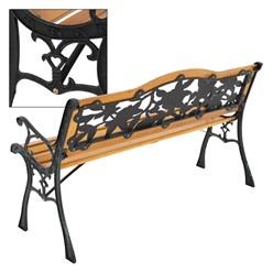 ML-Design Gartenbank 3-Sitzer, 126x77x50 cm, braun, aus Holz und Gusseisen