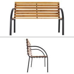 ML-Design Gartenbank 2-Sitzer, 122x84x58 cm, braun, aus Metall
