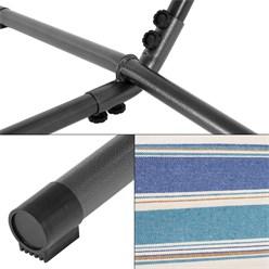 ML-Design Hängematte XXL blau/weiß, 275x110x98 cm, mit Gestell aus Polyester-Baumwolle, maximal belastbar 200kg