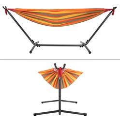ML-Design Hängematte XXL orange, 275x110x98 cm, mit Gestell aus Polyester-Baumwolle, maximal belastbar 200kg
