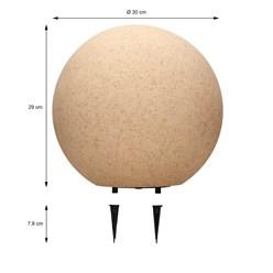 Kugelleuchte mit LED E27 Ø 30 cm steinoptik aus Kunststoff ML-Design