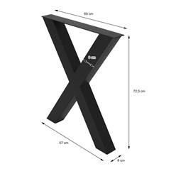 ML-Design 2er Set Tischbeine X-Form, schwarz, 60x72.5 cm, aus Stahl